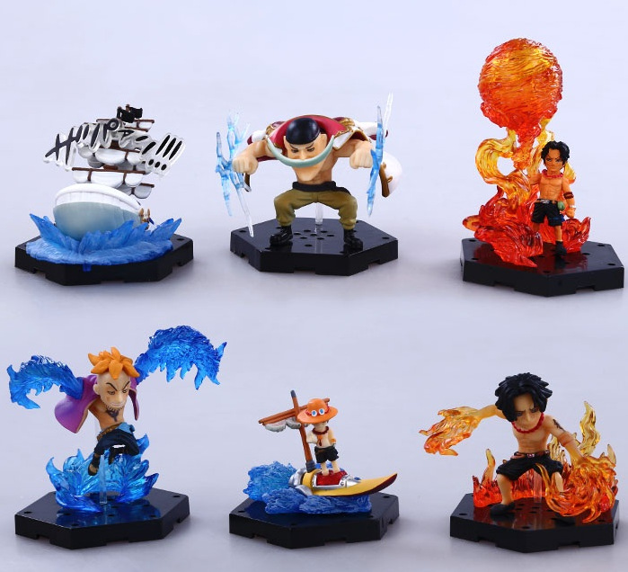 6pcs/set One Piece Ace Edward Newgate Marco Anime Collectible Action Figures PVC Collection toys for christmas gift 6pcs set disney trolls dolls action figures toys popular anime cartoon the good luck trolls dolls pvc toys for children gift