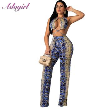 Snake Print Patchwork Night Party Jumpsuit Women Sexy Hollow Out Lace Up Halter Backless Rompers Female Casual Overalls Outfit halter hollow out backless lace up solid tops women summer 2019 sexy club fashion casual outwear