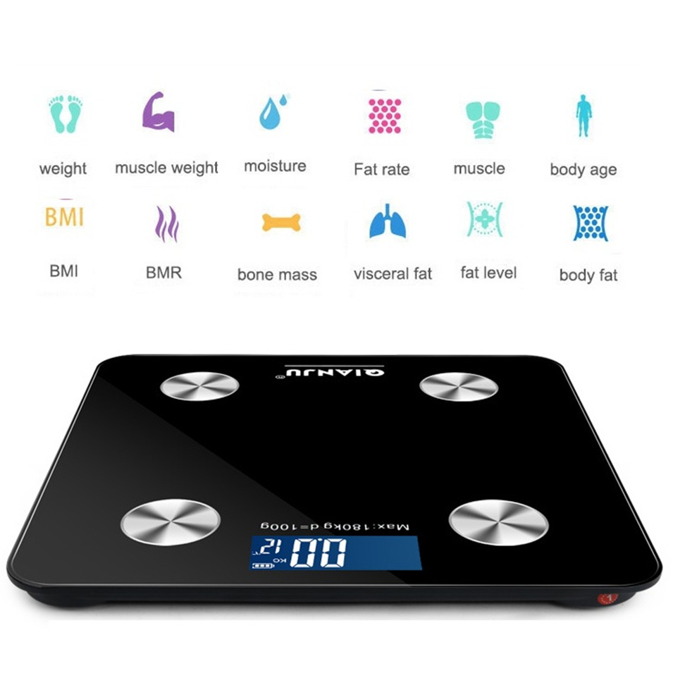 Escala do Assoalho Balança de Banheiro 2020 de Gordura Corporal Científica Inteligente Eletrônico Digital Peso Bluetooth App Android ou Ios Led