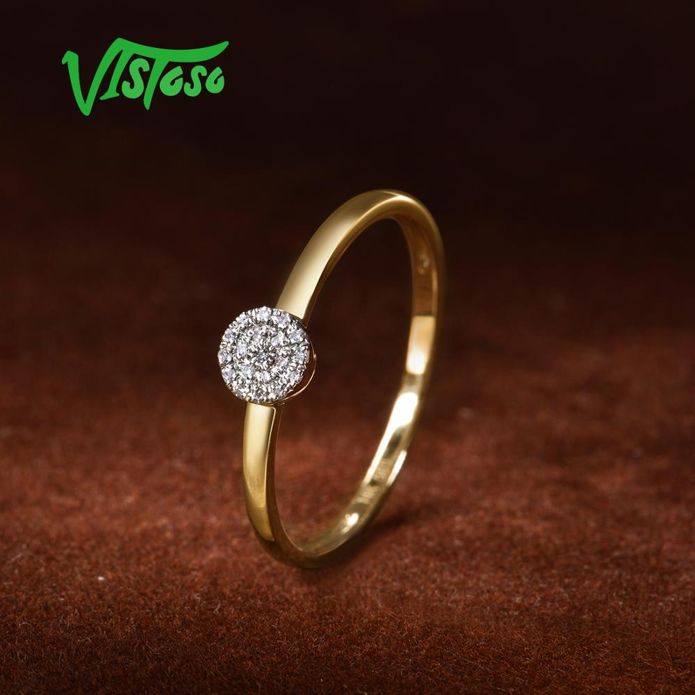 VISTOSO Pure 14K 585 Yellow Gold Sparkling Diamond Dainty Round Cirle Ring For Women Anniversary Trendy Fine Jewelry