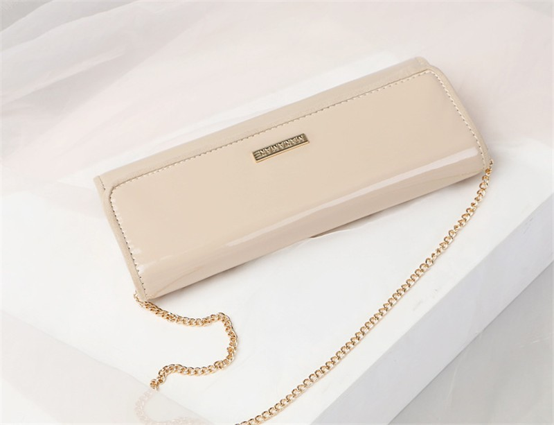 New Elegant Pure 3 Color Dinner Banquet Bag PU Leather High Quality Evening bag with chain HBF37 (9)