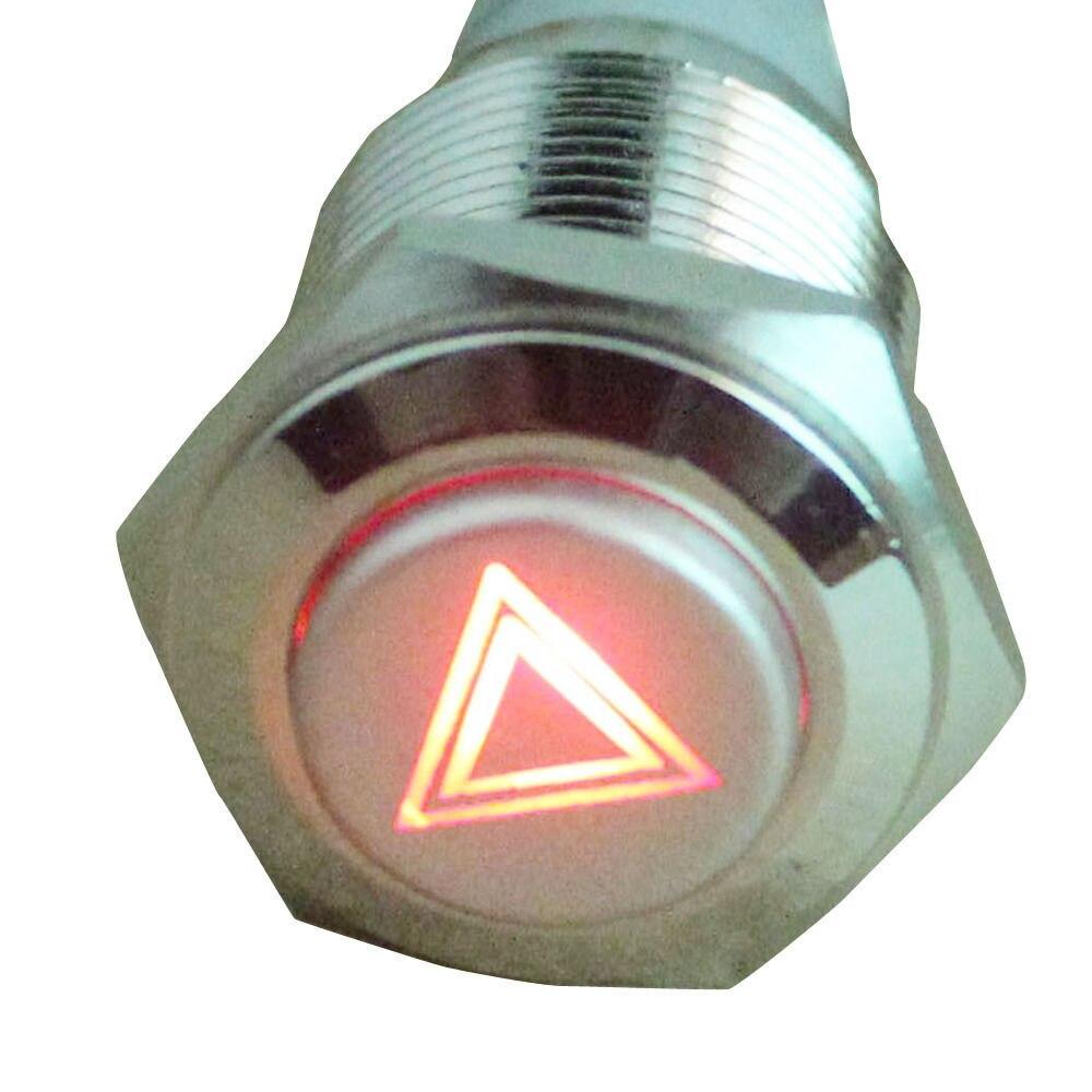 EE Поддержка 2 предмета 16 мм 12 В красный светодиод аварийного загорается Символ Кнопка On/Off Металл Выключатель универсальный автомобильный И...