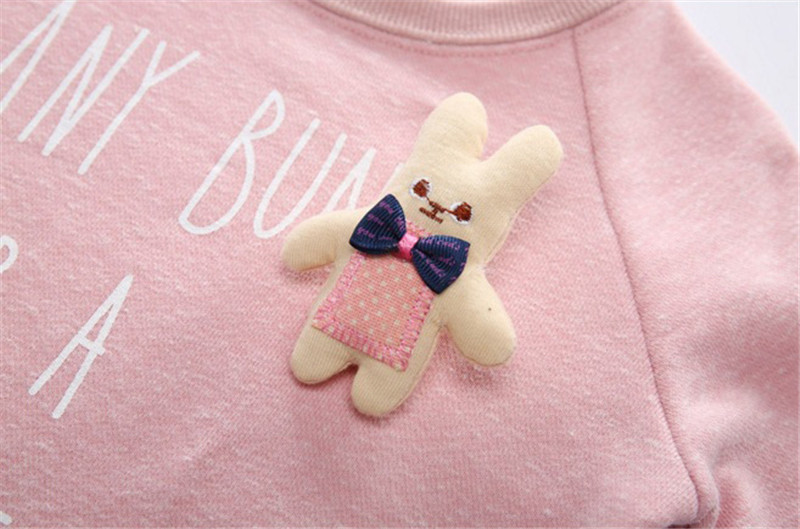 Jiuhehall 24M - 7T Children O-Neck Hoodies Letter Print Pullover With A Small Rabbit Doll For Girls Long Sleeve Kids Tops CMB974 (6)