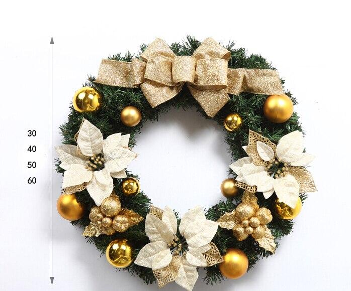 30cm 직경 황금과 빨간 크리스마스 장식 꽃 화환 크리스마스 화환 가정 정원과 호텔을위한 선물