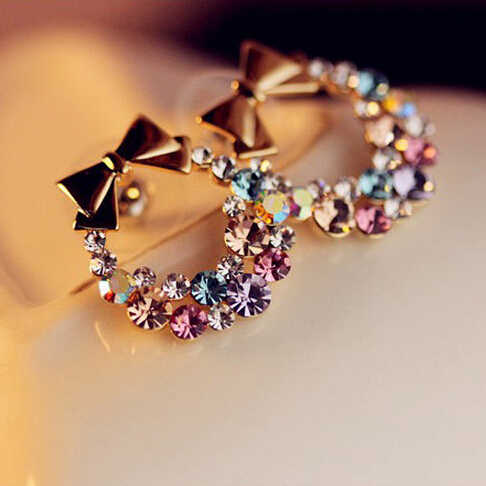 Free Shipping $10 (mix order) New Fashion Imitation Colorful Rhinestone Bow Earrings E41 Vintage Jewelry