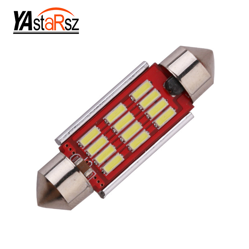1pcs High Quality 31mm 36mm 39mm 41mm C5W C10W 4014 LED CANBUS Car Festoon Lights Auto Interior Dome Lamp Reading Bulb White 12V 2pcs festoon led 36mm 39mm 41mm canbus auto led lamp 12v festoon dome light led car dome reading lights c5w led canbus 36mm 39mm