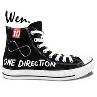 Wen Tela Scarpe Da Ginnastica Slogan 1D ONE DIRECTION Scarpe Dipinte A Mano Custom Design High Top Sneakers Nero Sport Unisex