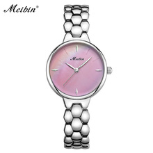 MEIBIN Quartz Ladies Armbandsur Fashion Nya Rosa MOP Dial Stainless Steel Women Watch Luxury Märke Classic Female Clock