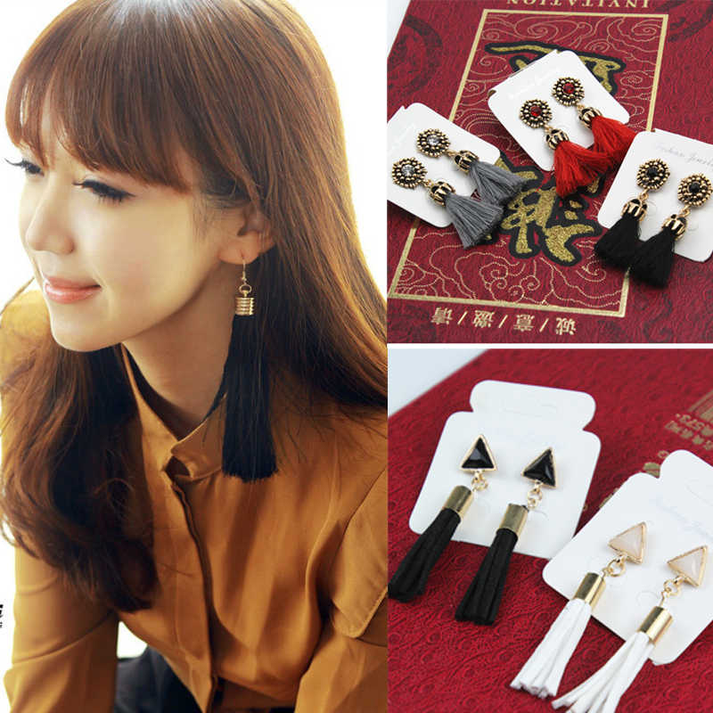 Carved Design Brincos Alloy Long Ribbon Dangle Tassel Earrings New Ethnic Jewelry for Women