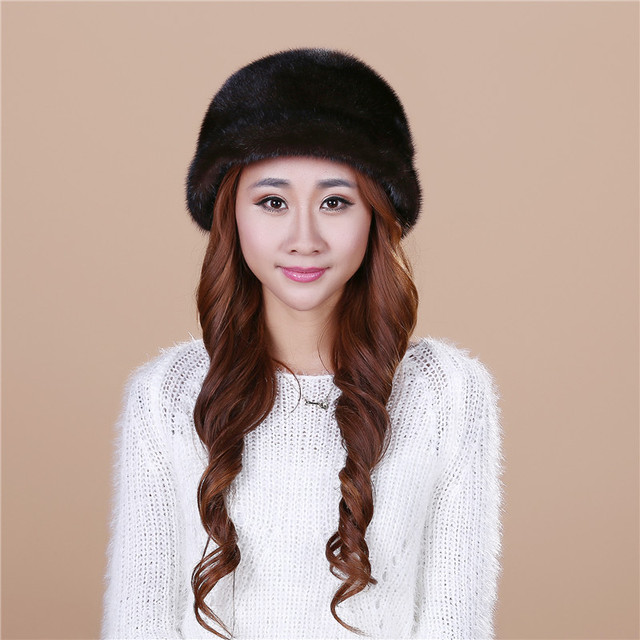 High Quality Natural Water mink hair Fur Beanies Winter Women Solid color Simple style 4 color Fur Hats Warm comfortable#H9030