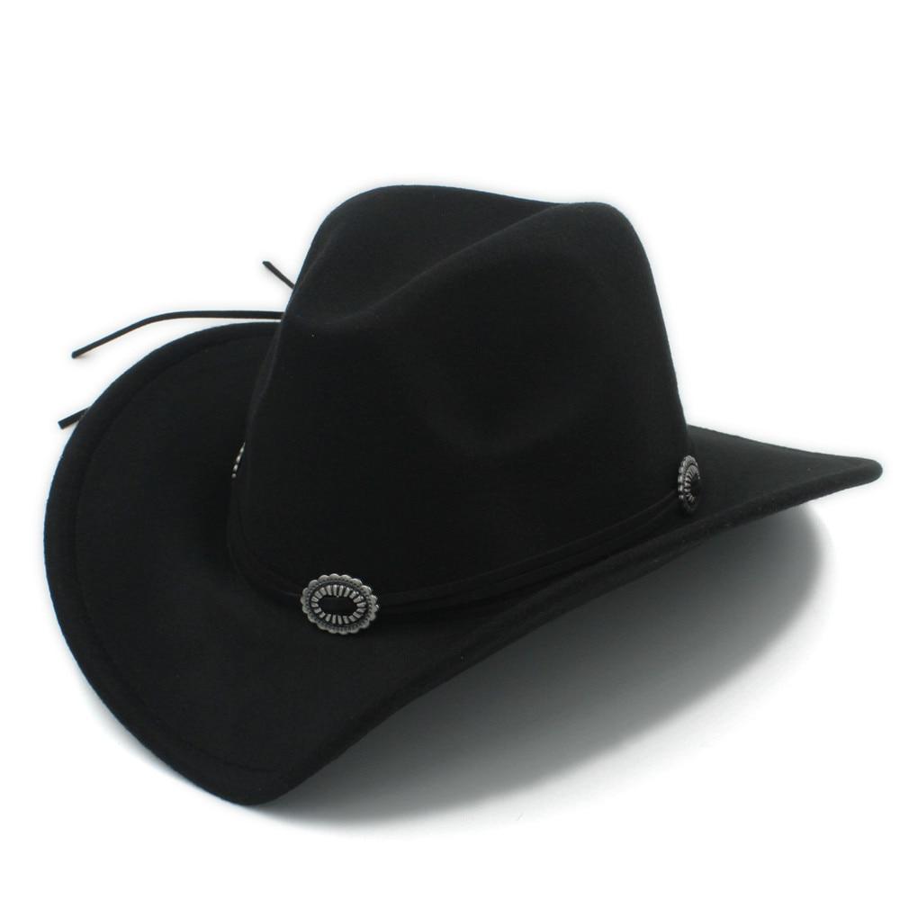 Aliexpress.com  Comprar Lana moda mujeres hombres sombrero de vaquero  occidental Caballero vaquera Jazz iglesia con cuero al aire libre toca  sombrero 57 58 ... 7c09d892722