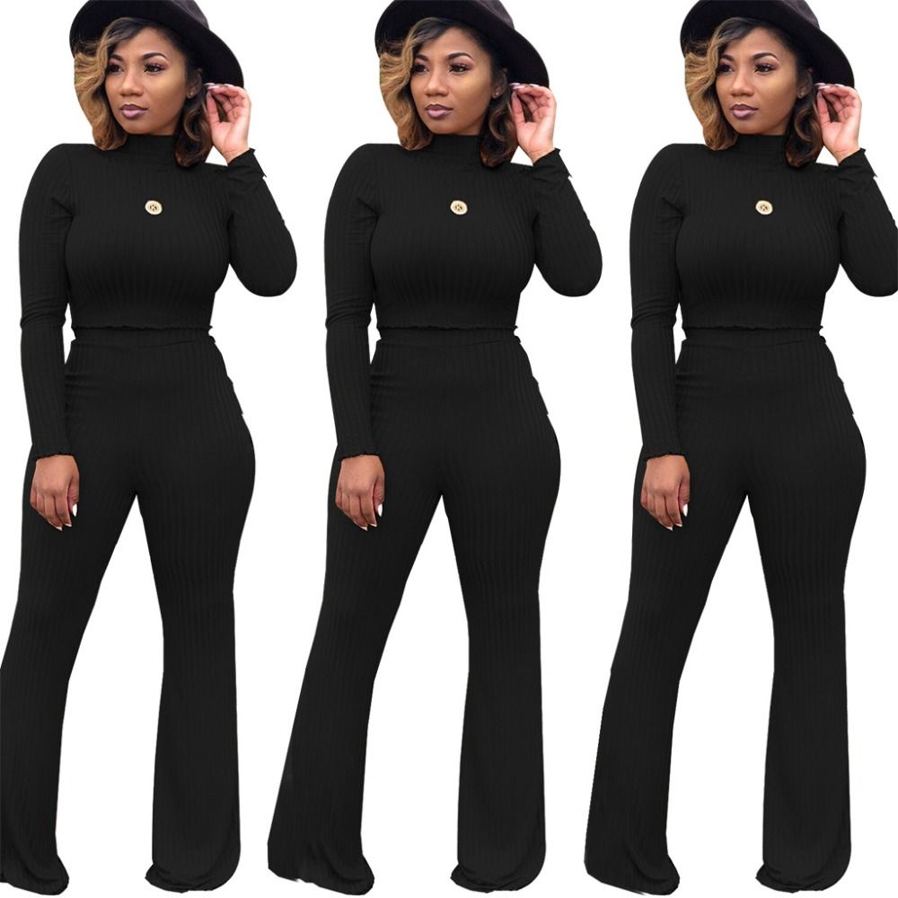 Women's Turtleneck Long Sleeve Crop Top Pullover Pants 2 Piece Set For Female Women Outfit Tops Pants Two Pieces Sets Women's
