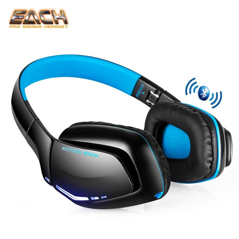 KOTION EACH B3506 Bluetooth 4.1 Wireless Headphone Portable Foldable Headband Headset Hands Free with Microphone Bass LED Light portable bluetooth v3 0 wireless headband headphone orange white