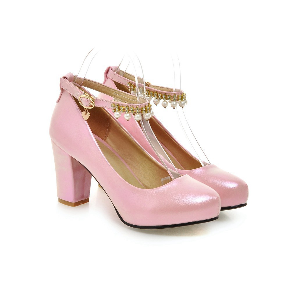 2017 Chunky High Heeled Pink Bridal Wedding Shoes Beaded White Female Buckle Elegant Pumps Silver Gold14