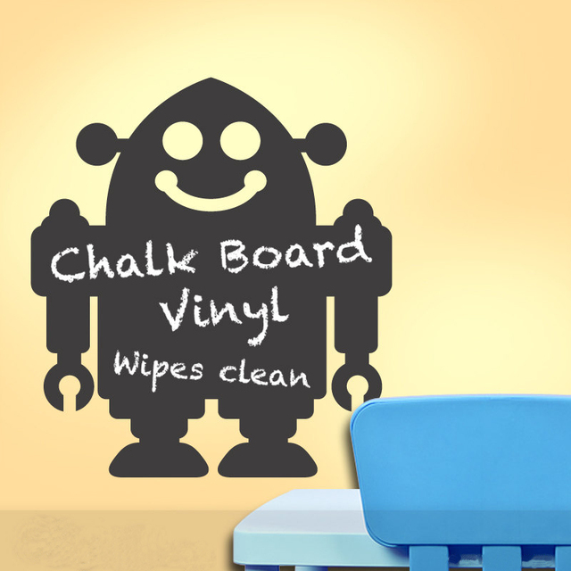 Chalkboard Robot Wall Decal Chalkboard Wall Decor Wall Stickers For ...
