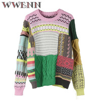 WWENN New Fashion Thick Round Neck Pullover Sweater Knitting Cashmere Sweater Coat Slim Multicolor Available Genuine