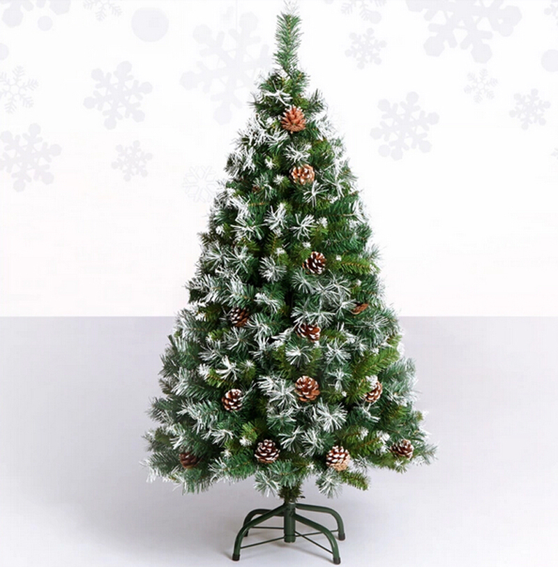 Free Shipping Christmas Xmas Tree 120cm Quality Encryption Pine Artificial W White Cones And Snowflake In Trees From Home Garden On