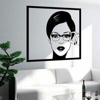 Wall Sticker Sexy Girl Woman Teen In Glasses Pop Art Bedroom