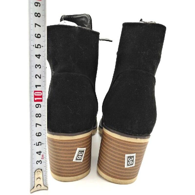 электронные игрушки слово осень-зима 2016 года модные женские ботинки пряжка круглый носок из флока женские мотоциклетные ботинки женская обувь толстый каблук