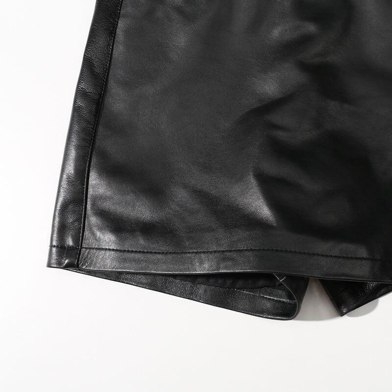 Peau Coréenne Black 2018 Femmes Mini Femelle Sexy Faux Short Mince Noir Cuir Mode Mouton Deux Véritable Shorts Pièces En De v44HwxT