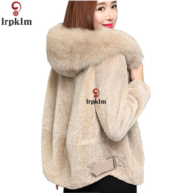 e015efe7e9db1 Kożuchy damskie Płaszcze Futra Lisa Kołnierz Dla Pań Krótki Płaszcz Zimowy  Z Kapturem Plus Size 3XL