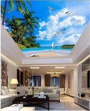 Custom photo wallpaper Palm beach sky ceiling living room Restaurant ceiling wall painting mural panel(China)