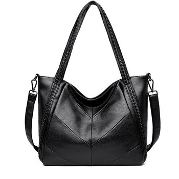 Women Casual Big Tote Bag Fashion Women Shoulder Bags Large Capacity Soft Leather Handbags Vintage Weave Messenger Bag Bolsos