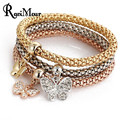 RAVIMOUR 3pcs/Set Anchor Skull Charm Bracelets & Bangles for Women Jewelry Crystal Gold Silver Pulseira Masculina Bracelet Femme
