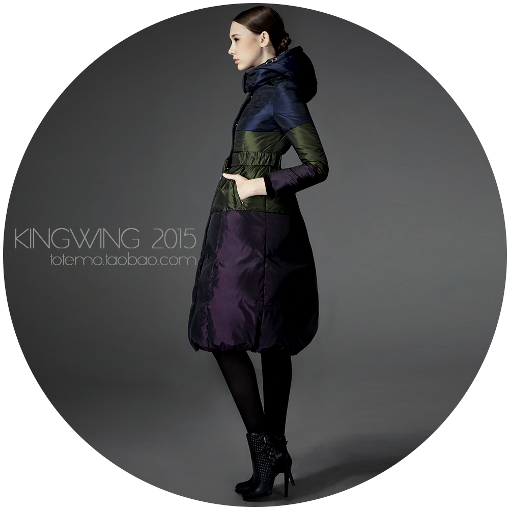Moon ! patchwork block color down coat female fashion women's high quality long design thickening