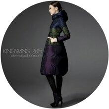 Освобождает доставка лоскутное блок цвет вниз пальто женщин женщин способа высокого качества длинные дизайн толстый и пиджаки