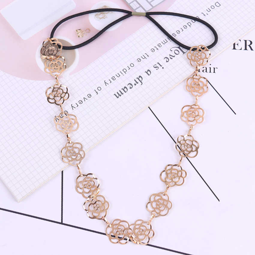 1PC Girls Womens Fashion Metal Chain Jewelry Hollow Rose Flower Elastic Headband Hair Band Headband Jewelry
