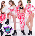 Nightclubs female female DJ in Europe the atmosphere with money white mei red leopard grain the rabbit head combination costumes