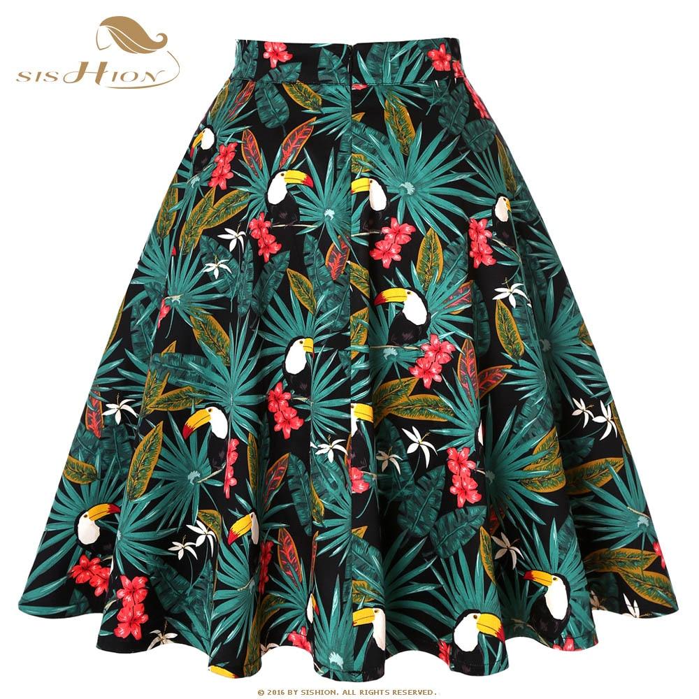 SISHION Skirts Womens Plus Size Women Black Skirt VD0020 Tutu Skirt Women Toucan Palm Floral School jupe femme High Waist Skirt
