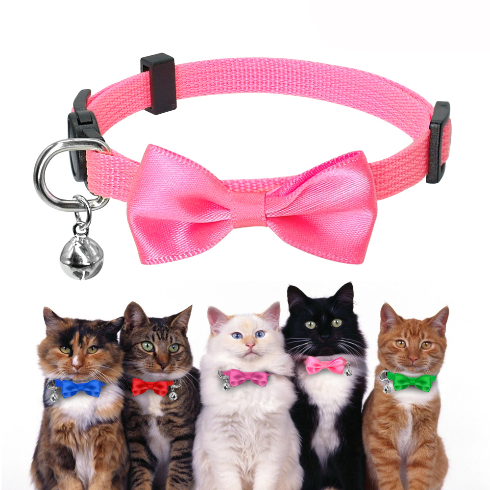 Quick Release Cat Collar Bownot Cat Dog Collars Durable Small Cat Collar Nylon Kitten Puppy Collar 1cm Width Cat Accessories