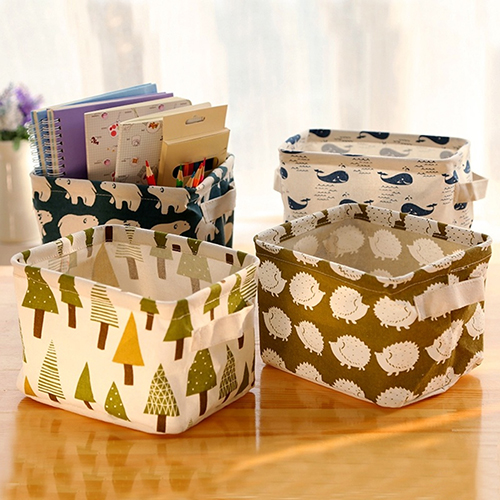 Cute Desk Storage Box Holder Jewelry Cosmetic Stationery Organizer Case