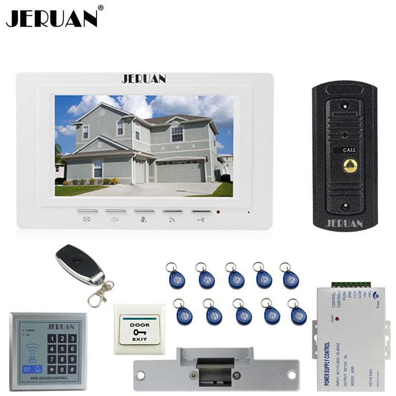 JERUAN Home 7`` Video Door phone Intercom System kit 1 White Monitor Metal 700TVL IR Pinhole Camera RFID Access Control In stock jeruan home 7 video door phone intercom system kit 1 white monitor metal 700tvl ir pinhole camera rfid access control in stock