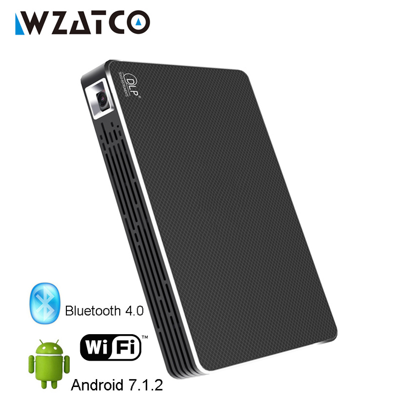 WZATCO CT08S Android 7.1 WIFI Bluetooth Mini LED full HD 1080P 4K Projector Portable Smart Home Theater Pocket Proyector Beamer wzatco ce05 projector smart android 7 1 2 os portable pocket mini hd projector wifi led 1080p dlp home theater beamer proyector