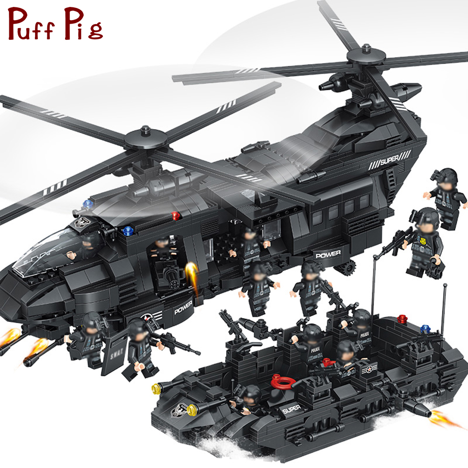 1351pcs Large Building Blocks Sets legorreta SWAT Team Transport Helicopter Jouet SWAT City Police Gift Toys for Children Kids willys jeep 1 10