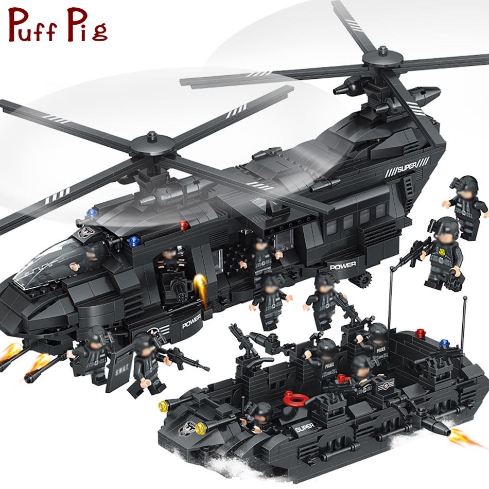 1351 piezas grandes bloques de construcción establece equipo SWAT helicóptero de transporte Compatible Legoed ciudad SWAT policía regalo juguetes para niños