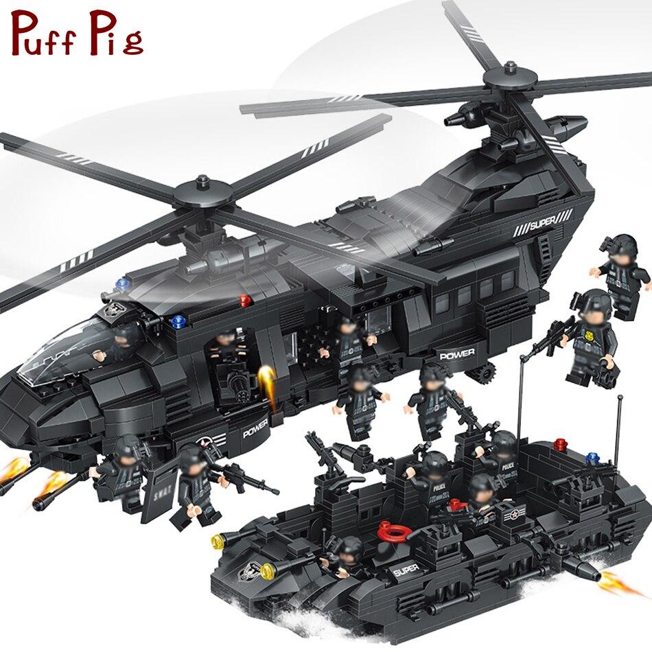 1351 piezas grandes bloques de unids construcción conjuntos SWAT equipo de transporte helicóptero Compatible Legoed SWAT ciudad policía regalo juguetes para niños