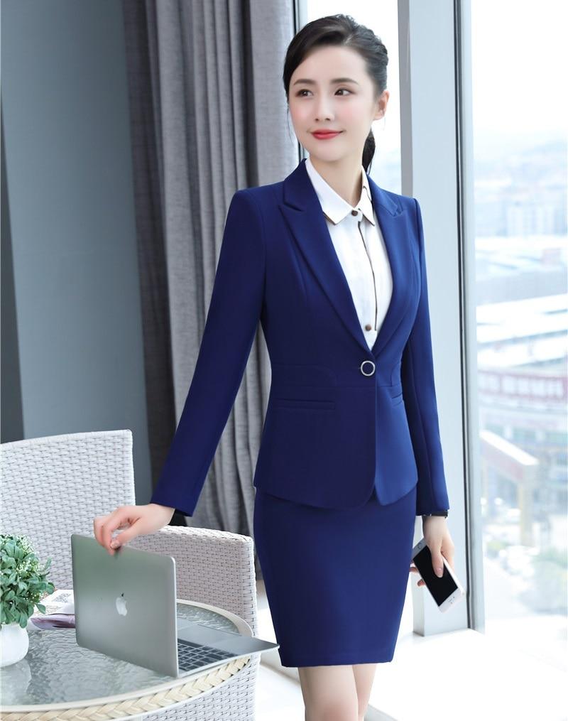d7f88515bd31 Veste Jupe D affaires Noir Conceptions De Bleu Styles Ensembles Costumes  Uniformes Dames Blazer Bureau Formelle Femmes ...