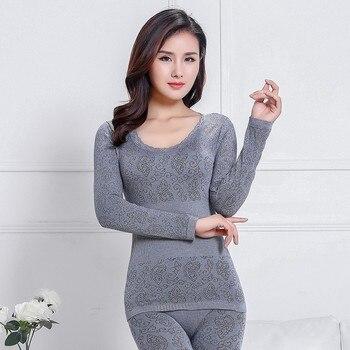 Ropa interior térmica de invierno para mujer, cuello redondo, encaje fino, ropa de invierno, ropa interior térmica de alta elasticidad
