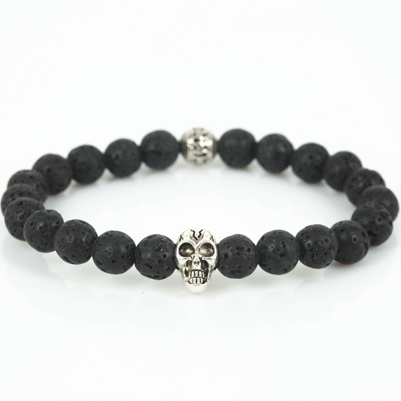 Natural Stone Skull Bracelets& Bangles Beads Buddha Charm ...