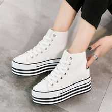 Height Increasing 10cm Wedges White sneakers Casual Canvas Shoes Woman Platform  High Top Women 2019