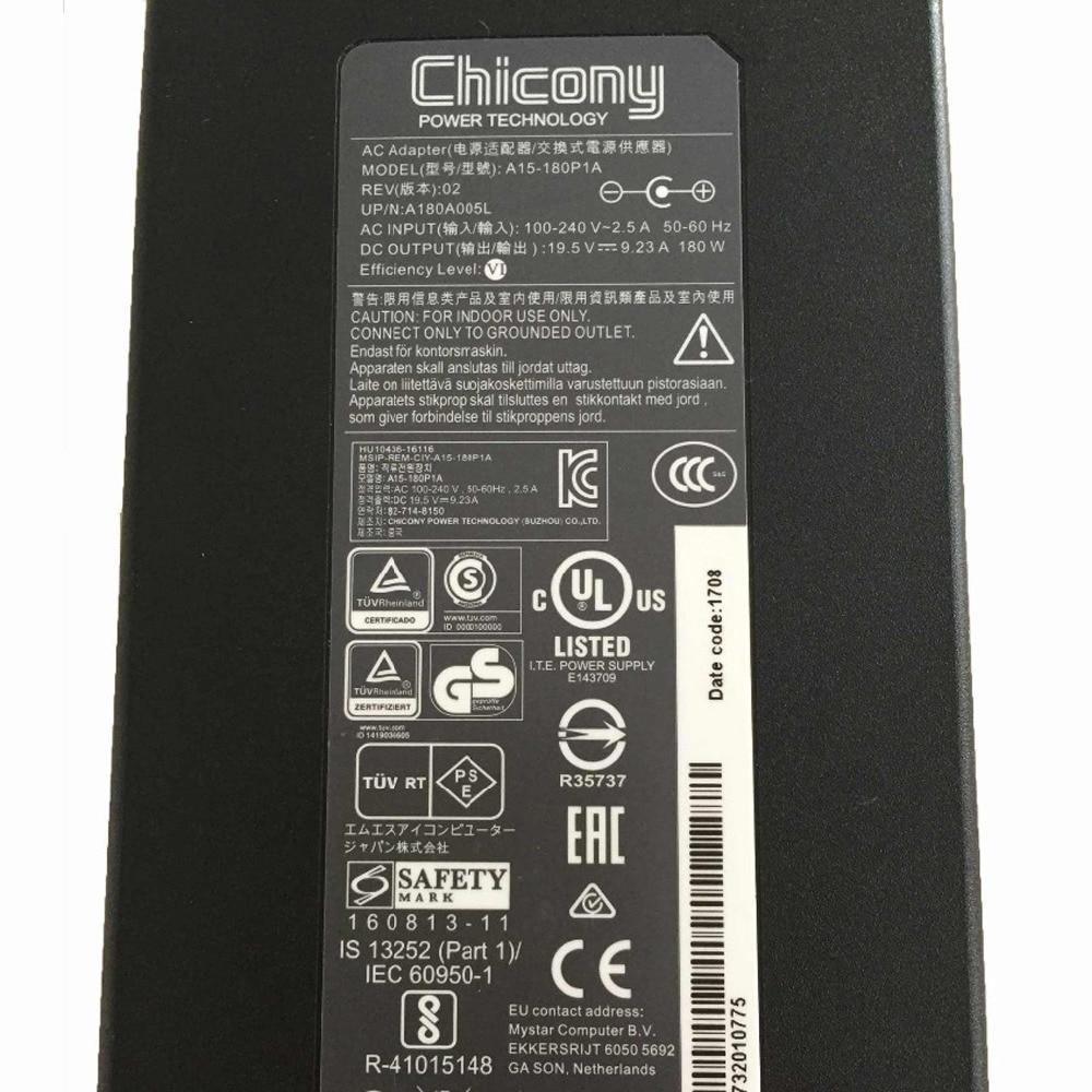 D'origine 180 W 19.5 V 9.23A chargeur pour ordinateur portable Adaptateur secteur pour MSI GE72VR GS63VR Chicony A15-180P1A A180A005L - 6