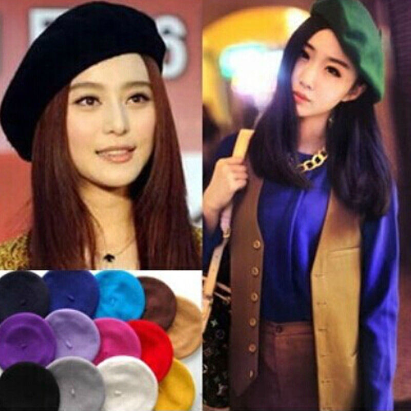 2018 Autumn Winter Hats Womens Sweet Solid Warm Wool Beret French Artist  Beanie Hat Ski Cap a1d2db879ef8