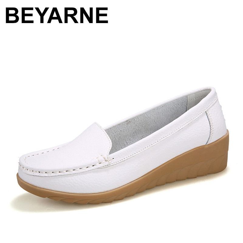 BEYARNE  Genuine Leather shoes Women Flats Shoe Fashion Casual Slip On Soft Loafers Spring Autumn Female Driving Shoes Wholesale siketu sweet bowknot flat shoes soft bottom casual shallow mouth purple pink suede flats slip on loafers for women size 35 40