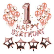 2019 Happy Birthday pink Banner rose Gold Number Balloons1st Party Supplies and Rose Decorations