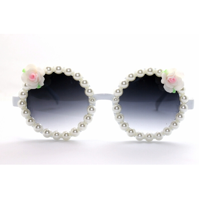 2018 Women Baroque Sunglasses Flower with Pearl White Frame Round ...