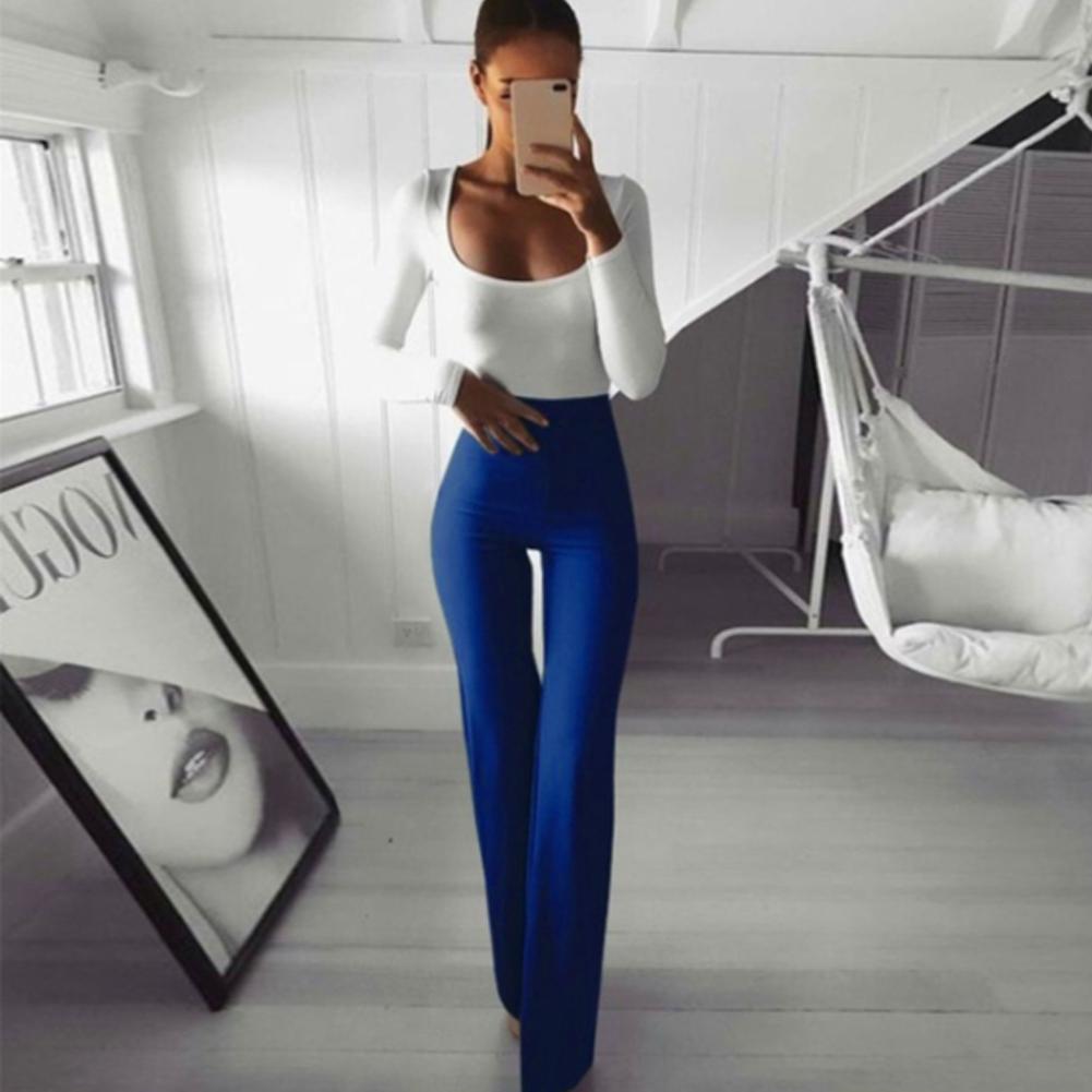 Sexy Women High Waist Long Pants OL Ladies Career Solid Palazzo Slim Flare Wide Leg Trousers Female Harem Pants 6